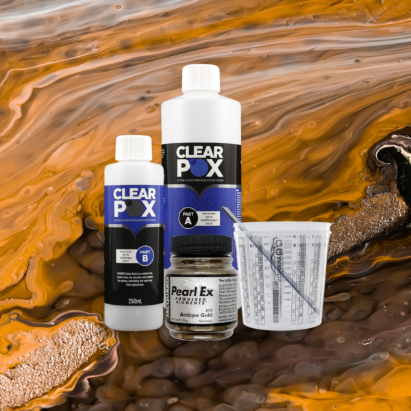 ClearPox Ultra Clear Industrial Epoxy Resin - Antique Gold Kit